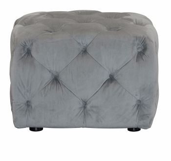 Button Footstool Small Velvet Slate