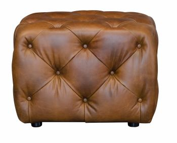 Button Footstool Small Tan Leather