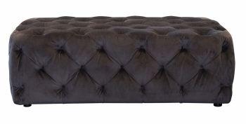 Button Footstool Large Asphelt Velvet