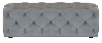 Button Footstool Large Velvet Slate