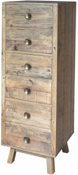 Stanwick Chest 6 Drawer Narrow Reclaimed Timber
