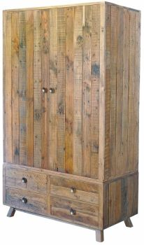 Stanwick Wardrobe with Drawer Base Reclaimed Timber