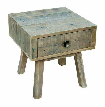 Stanwick Table 1 Drawer Lamp Table/Bedside Reclaimed Timber