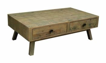 Stanwick Coffee Table with 2 Drawers Reclaimed Timber