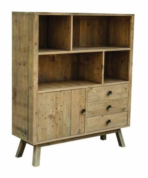 Stanwick Bookcase Wide Shelving Unit Reclaimed Timber
