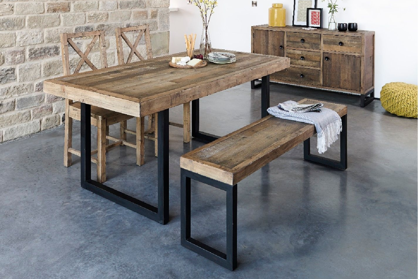 Retro Dining Solid Reclaimed Wood