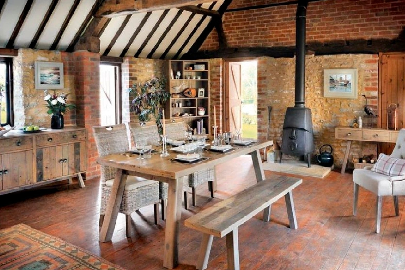 Stanwick Solid Reclaimed Wood Bed Room & Dining Room