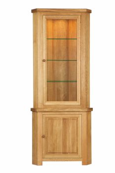 Lorient Oak Corner Unit with Glazed Top With Lights