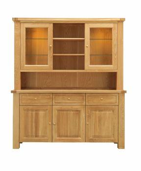 Lorient Oak Dresser 3 door Glazed with Lights
