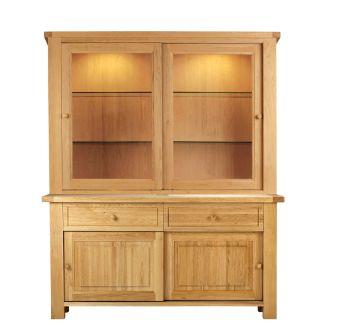 Lorient Oak Dresser Glazed Sliding Doors Top and Sideboard Lights