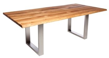 Ayrton Dining Table Stainless A1 Leg (180x90cm) Solid Oak oiled oak