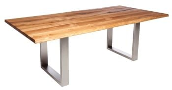 Ayrton Dining Table Stainless A1 Legs (200x100cm) Solid Oak