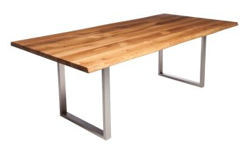 Ayrton Dining Table Stainless B1 (140x90cm) Solid Oak Oil