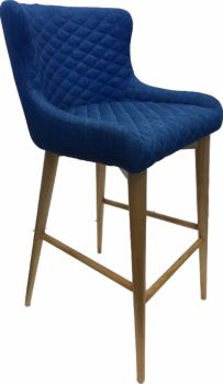 Aviator Bar Oak Stool  Upholstered in cobalt Fabric