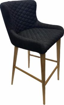 Aviator Oak Bar Stool - Upholstered in Slate Fabric