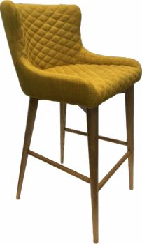 Aviator Oak Bar Stool Upholstered in Saffron Fabric