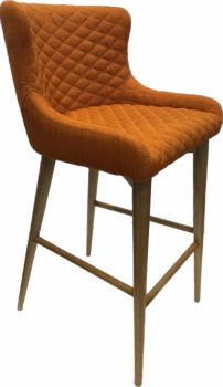 Aviator Bar Stool Oak Upholstered Burnt Orange Fabric