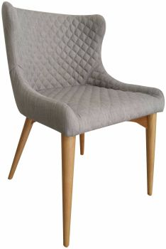 Flow Aviator Oak Dining Chair Upholstered in Flint Fabric