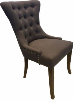 Dionne Oak Dining Chair Upholstered in Slate Fabric