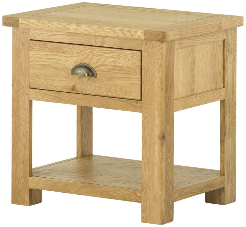 Stratton Oak Lamp Table With Drawer