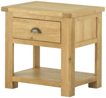 Stratton Oak Coffee Lamp Table With Drawer