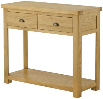 Stratton Oak Console Table 2 Drawer