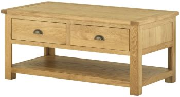 Stratton Oak Coffee Table With Drawers