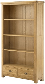 Stratton Oak Bookcase With Drawers Grand