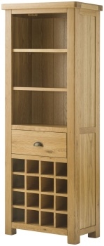 Stratton Oak Bookcase with wine holders Grand
