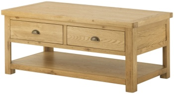 Stratton Oak Coffee Table 2 Drawers Grand