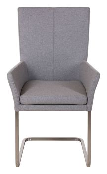 Ayrton Dining Chair Carver Cantilever Grey Fabric