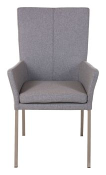 Ayrton Dining Chair Carver Steel Leg Grey Fabric