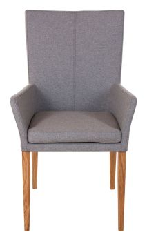 Ayrton Dining Chair Wood Leg Carver Grey Fabric
