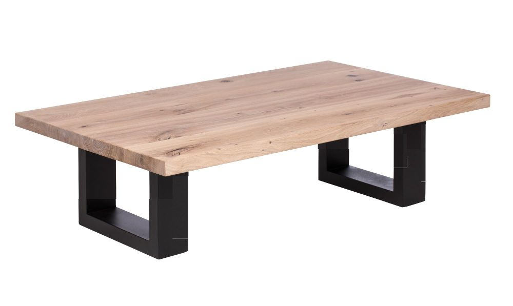 Ayrton Oak Coffee Table white oil finish  120x60x45cm heavy industrial stee