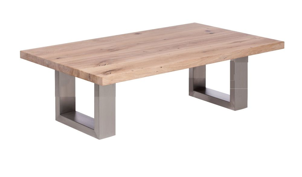 Ayrton Oak Coffee Table white oil finish  120x60x45cm heavy stainless steel