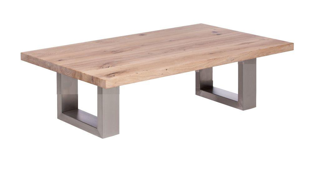 Ayrton Oak Coffee Table white oil finish  140x70x45cm heavy stainless steel