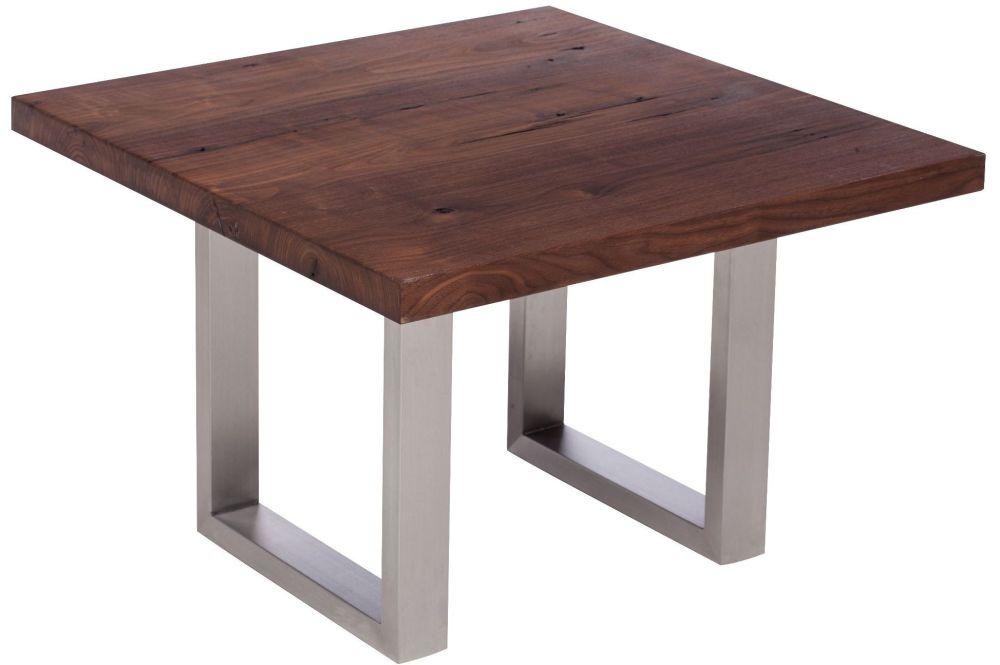 Ayrton Oak  Walnut finish Coffee Lamp Table 60x60x45cm stainless steel made