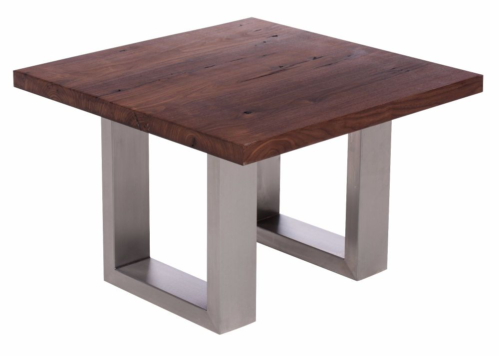 Ayrton Oak  Walnut finish Coffee Lamp Table 60 x 60 x 45 cm heavy stainless