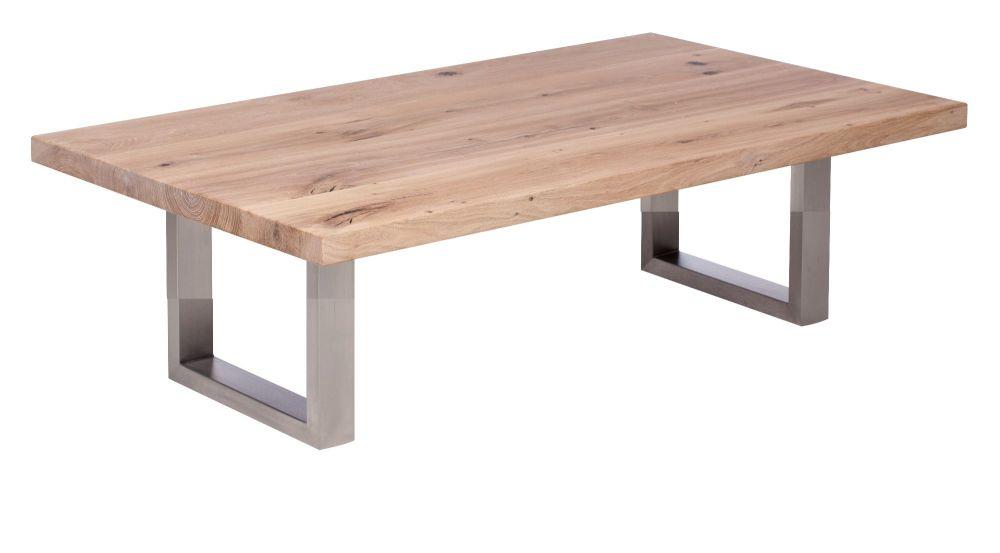 Ayrton Oak Coffee Table white oil finish  140x70x45cm stainless steel base