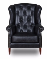 Wing Chair Button Cerato Black Aniline Leather w83 x d90 x h105