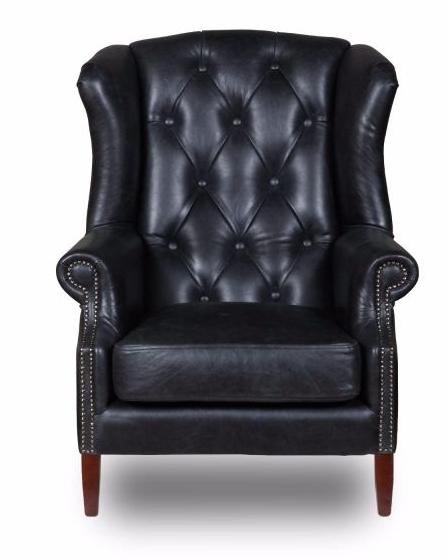 Wing Chair Button Cerato Black Aliline Leather