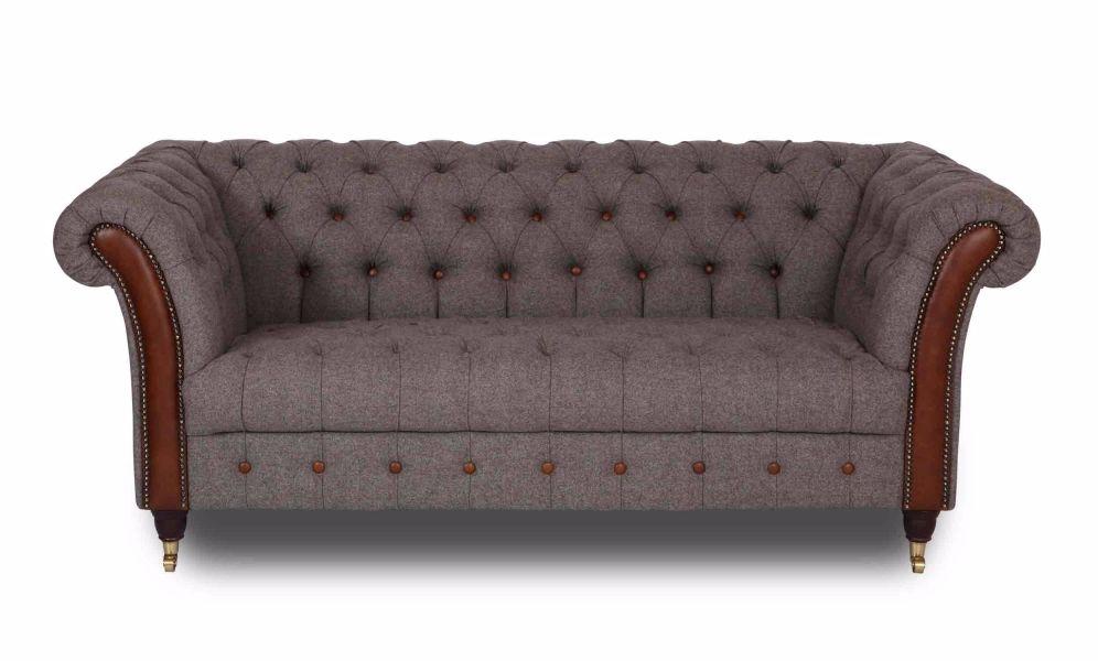 New Bute Sofa 2 Seater Herring Bone Mallard and Cerato Aniline Leather  w20