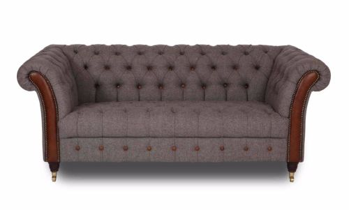 New Bute Chesterfield Sofa 3 Seater Herring Bone Mallard And Cerato Anilin