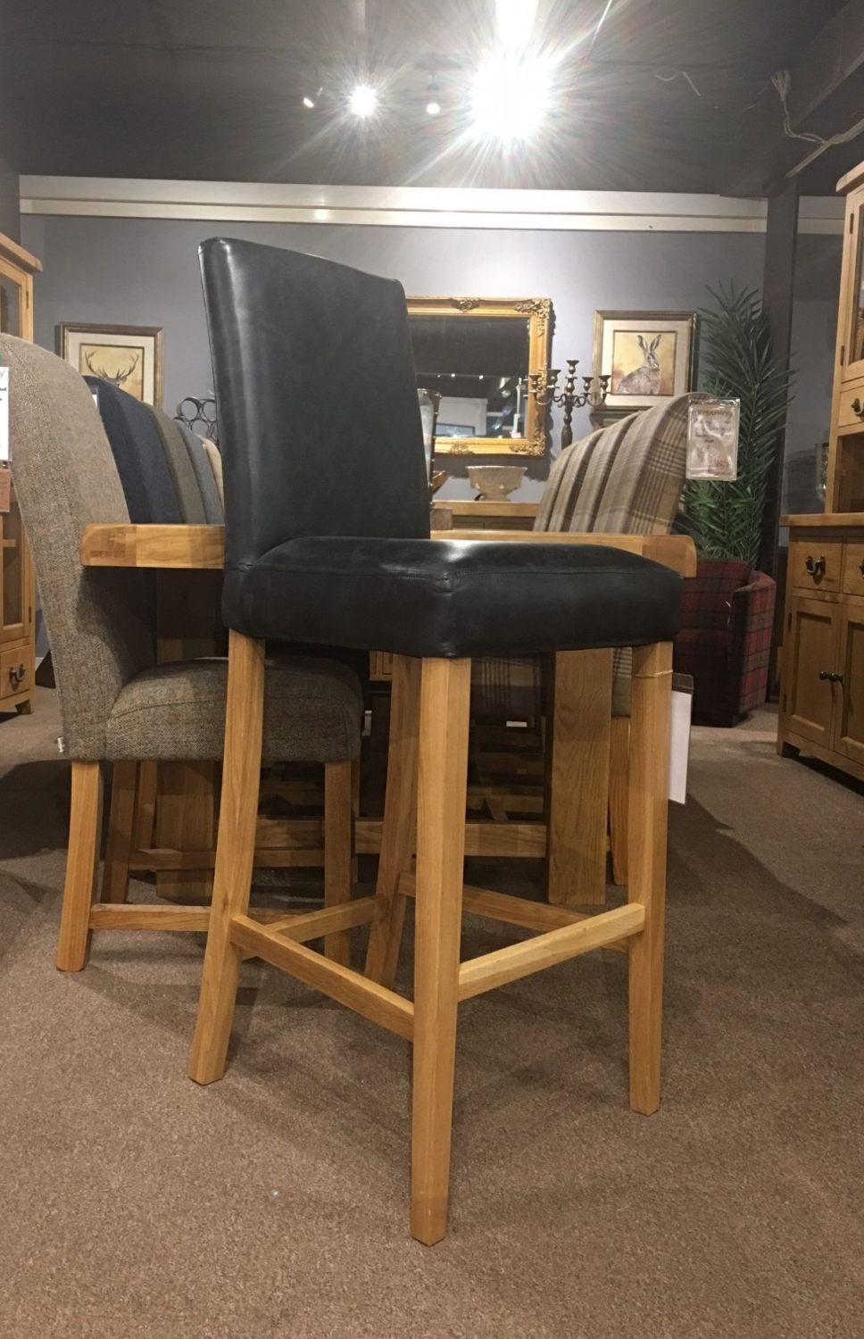 Jacob Bar Stool in Black Leather