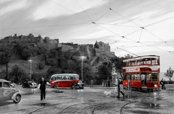 Trams on Princes Street BW