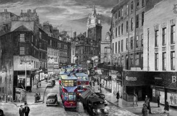 Rush Hour on Leith Street BW
