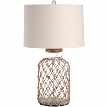 Glass Table Lamp, With Rope And Removable Cork Top