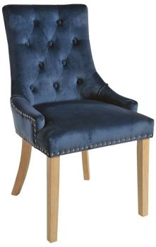 Christine Chair Blue with Natural Legs