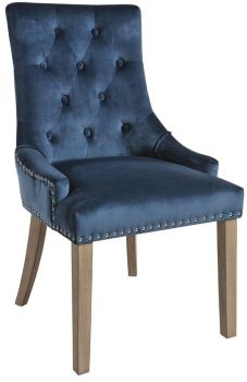 Christine Chair Blue with Vintage Legs