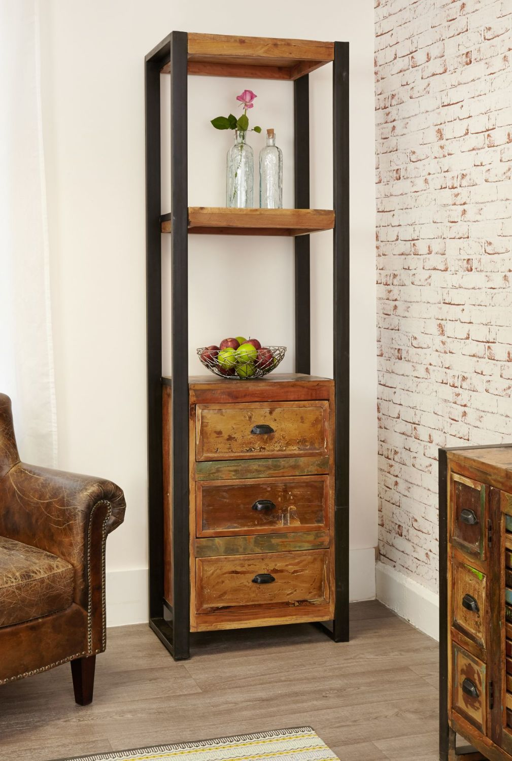 Ajai Recycled Bookcase Alcove (With Drawers)